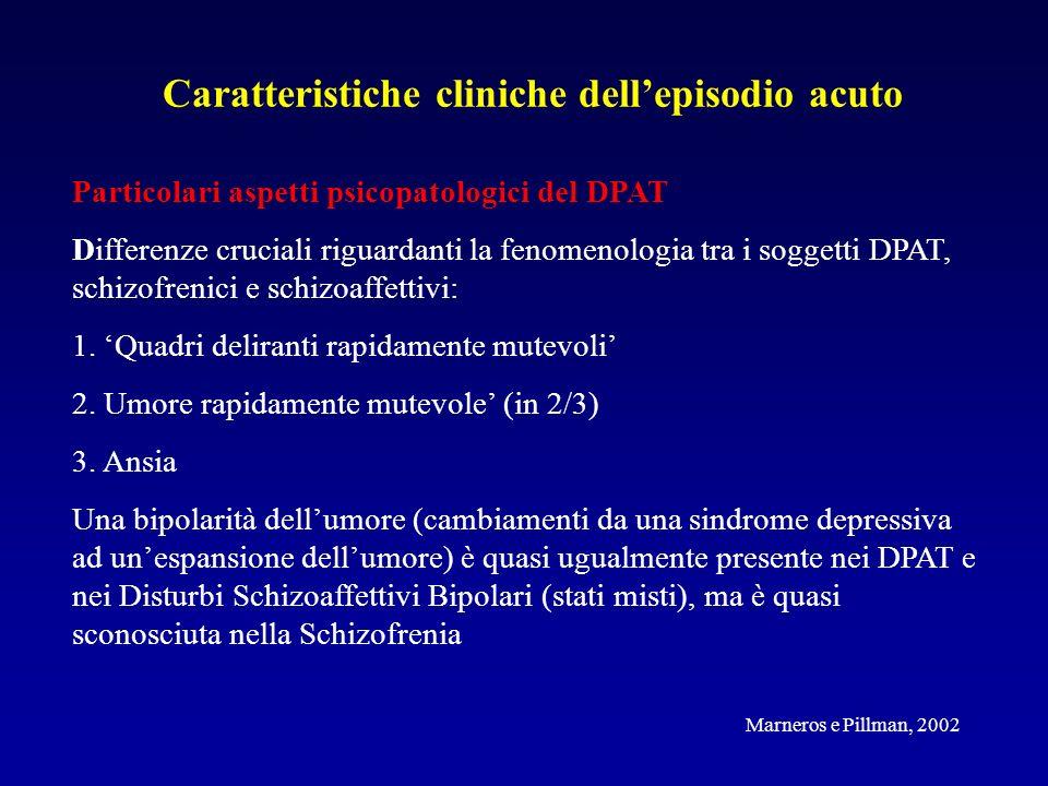 Caratteristiche cliniche dellepisodio acuto Particolari aspetti psicopatologici del DPAT Differenze cruciali riguardanti la fenomenologia tra i soggetti DPAT, schizofrenici e schizoaffettivi: 1.
