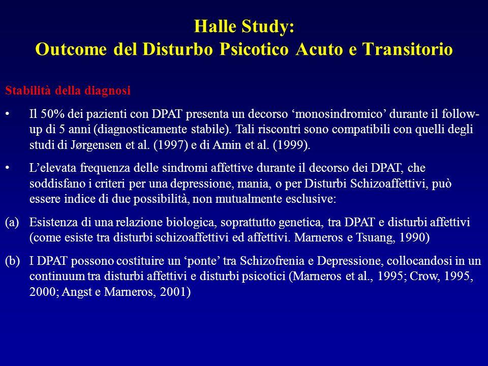 Halle Study: Outcome del Disturbo Psicotico Acuto e Transitorio Stabilità della diagnosi Il 50% dei pazienti con DPAT presenta un decorso monosindromico durante il follow- up di 5 anni (diagnosticamente stabile).