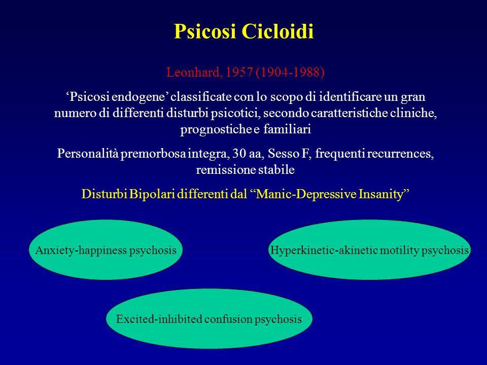 Psicosi Cicloidi Anxiety-elation psychosis: cambiamento continuo tra ansia totipervasiva e felicità estatica.