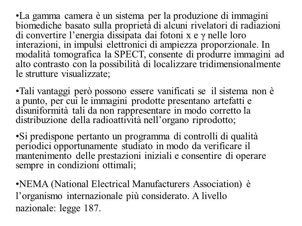 Altre misure importanti per le gamma camere tomografiche (che però non vengono richieste nelle prove di costanza) sono : CONTRASTO E RUMORE; CALIBRAZIONE DELLOFFSET DEL CENTRO DI ROTAZIONE ( coincidenza tra asse meccanico e asse elettronico); DETERMINAZIONE DELLE DIMENSIONI DEL PIXEL.