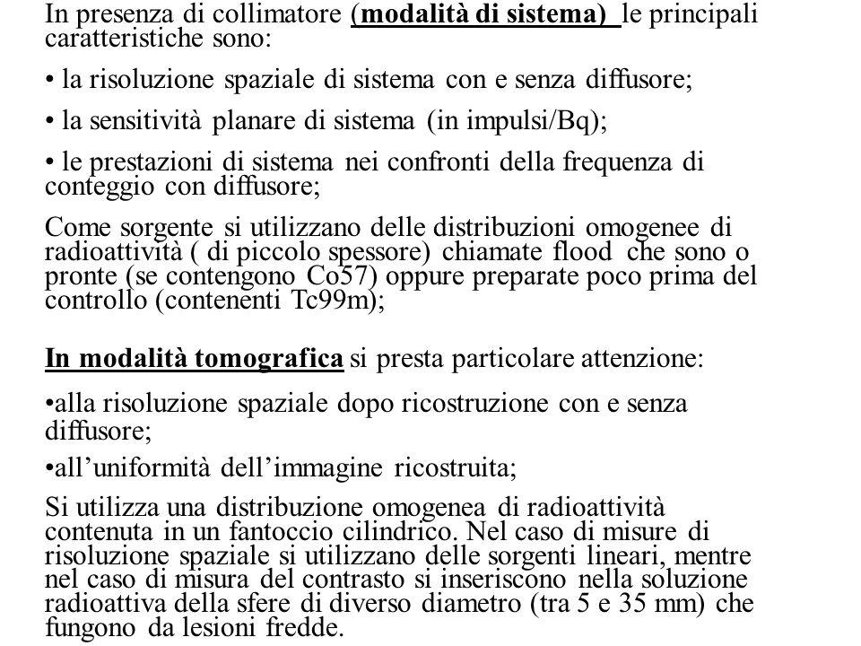 In presenza di collimatore (modalità di sistema) le principali caratteristiche sono: la risoluzione spaziale di sistema con e senza diffusore; la sens