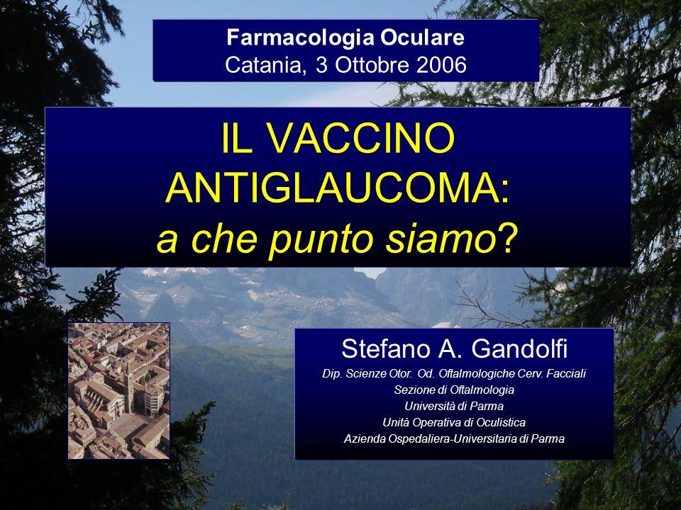IL VACCINO ANTIGLAUCOMA: a che punto siamo? Farmacologia Oculare Catania, 3 Ottobre 2006 Stefano A. Gandolfi Dip. Scienze Otor. Od. Oftalmologiche Cer