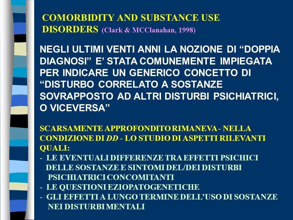COMORBIDITY AND SUBSTANCE USE DISORDERS (Clark & MCClanahan, 1998) NEGLI ULTIMI VENTI ANNI LA NOZIONE DI DOPPIA DIAGNOSI E STATA COMUNEMENTE IMPIEGATA PER INDICARE UN GENERICO CONCETTO DI DISTURBO CORRELATO A SOSTANZE SOVRAPPOSTO AD ALTRI DISTURBI PSICHIATRICI, O VICEVERSA SCARSAMENTE APPROFONDITO RIMANEVA - NELLA CONDIZIONE DI DD - LO STUDIO DI ASPETTI RILEVANTI QUALI: - LE EVENTUALI DIFFERENZE TRA EFFETTI PSICHICI DELLE SOSTANZE E SINTOMI DEL/DEI DISTURBI PSICHIATRICI CONCOMITANTI - LE QUESTIONI EZIOPATOGENETICHE - GLI EFFETTI A LUNGO TERMINE DELLUSO DI SOSTANZE NEI DISTURBI MENTALI
