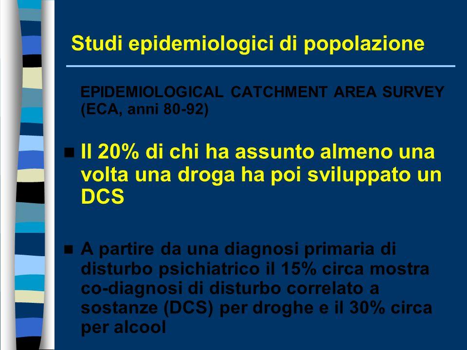 Studi epidemiologici di popolazione EPIDEMIOLOGICAL CATCHMENT AREA SURVEY (ECA, anni 80-92) Il 20% di chi ha assunto almeno una volta una droga ha poi sviluppato un DCS A partire da una diagnosi primaria di disturbo psichiatrico il 15% circa mostra co-diagnosi di disturbo correlato a sostanze (DCS) per droghe e il 30% circa per alcool