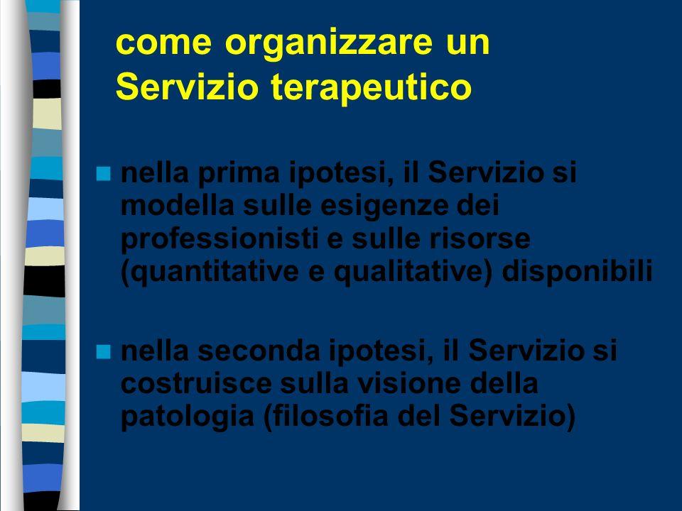 come organizzare un Servizio terapeutico Il Servizio può avere due impostazioni generali: - essere un organizzazione che mette gli operatori solo nella condizione di svolgere il proprio lavoro - avere una connotazione terapeutica nella sua architettura organizzativa