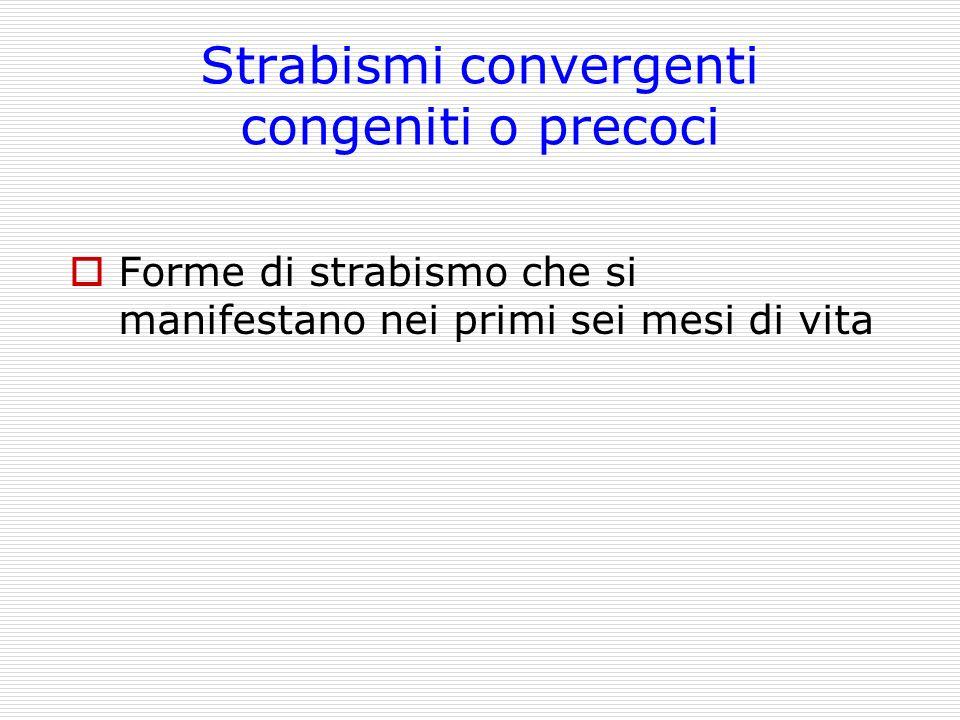 Strabismi convergenti congeniti o precoci Forme di strabismo che si manifestano nei primi sei mesi di vita