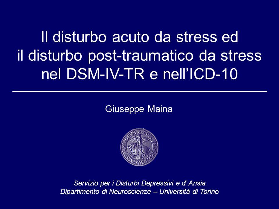 Innovazioni principali del DSM-IV 1.Individuazione del Disturbo acuto da stress: Esordio entro 1 mese e decorso transitorio possibile anticamera del PTSD 2.PTSD: Ampliamento spettro traumi Criteri diagnostici più ristrettivi 3.Compromissione del funzionamento