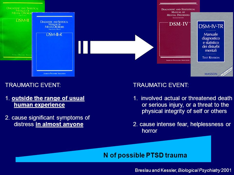 TRAUMATIC EVENT: 1. outside the range of usual human experience 2. cause significant symptoms of distress in almost anyone TRAUMATIC EVENT: 1. involve