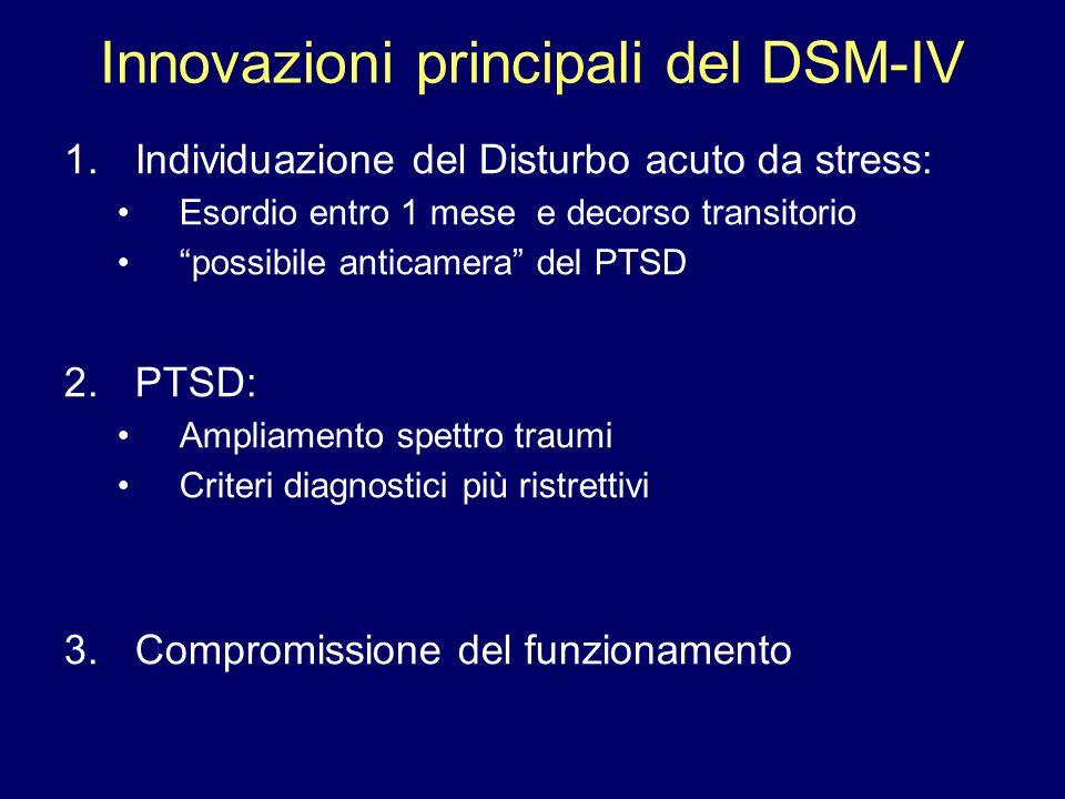 Innovazioni principali del DSM-IV 1.Individuazione del Disturbo acuto da stress: Esordio entro 1 mese e decorso transitorio possibile anticamera del P