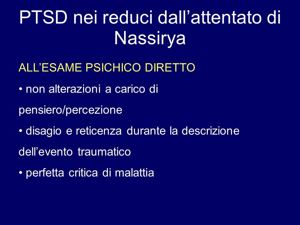 PTSD nei reduci dallattentato di Nassirya ALLESAME PSICHICO DIRETTO non alterazioni a carico di pensiero/percezione disagio e reticenza durante la des