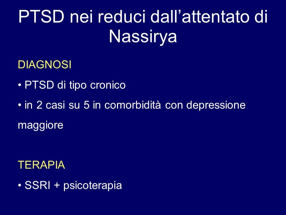 PTSD nei reduci dallattentato di Nassirya DIAGNOSI PTSD di tipo cronico in 2 casi su 5 in comorbidità con depressione maggiore TERAPIA SSRI + psicoter