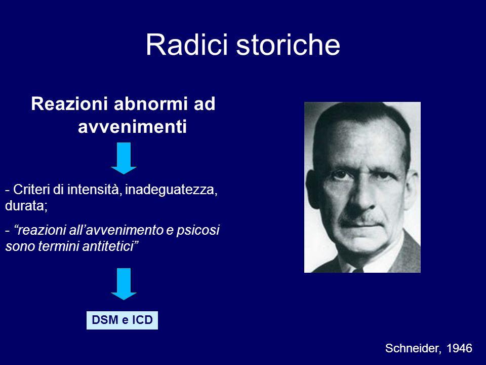 Reazioni abnormi ad avvenimenti Schneider, 1946 - Criteri di intensità, inadeguatezza, durata; - reazioni allavvenimento e psicosi sono termini antite