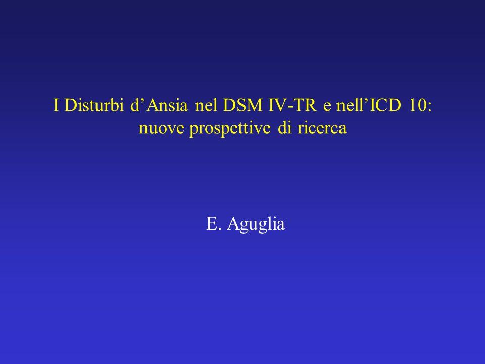 I Disturbi dAnsia nel DSM IV-TR e nellICD 10: nuove prospettive di ricerca E. Aguglia