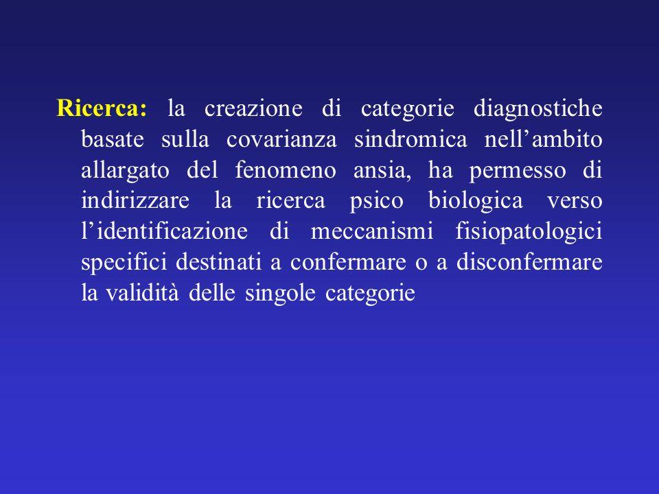 Ricerca: la creazione di categorie diagnostiche basate sulla covarianza sindromica nellambito allargato del fenomeno ansia, ha permesso di indirizzare