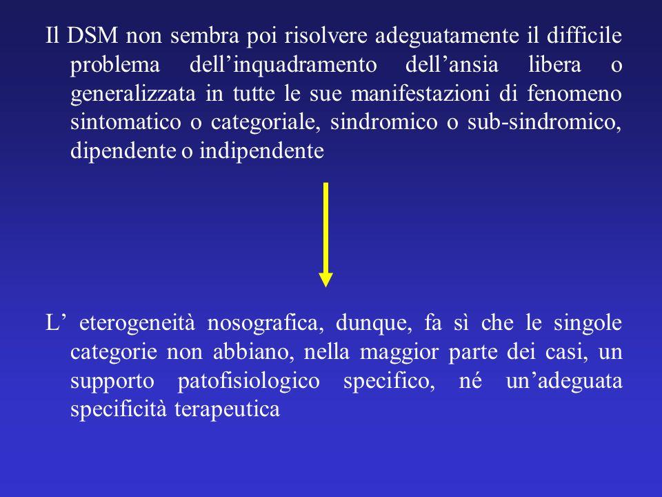 Il DSM non sembra poi risolvere adeguatamente il difficile problema dellinquadramento dellansia libera o generalizzata in tutte le sue manifestazioni