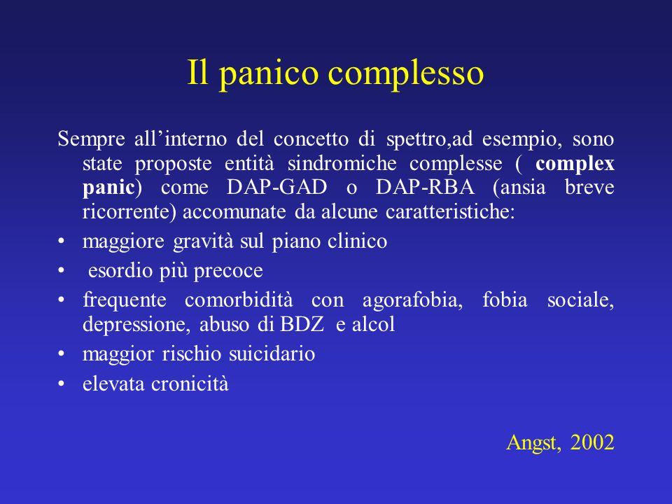 Il panico complesso Sempre allinterno del concetto di spettro,ad esempio, sono state proposte entità sindromiche complesse ( complex panic) come DAP-G