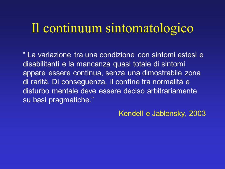 Il continuum sintomatologico La variazione tra una condizione con sintomi estesi e disabilitanti e la mancanza quasi totale di sintomi appare essere c