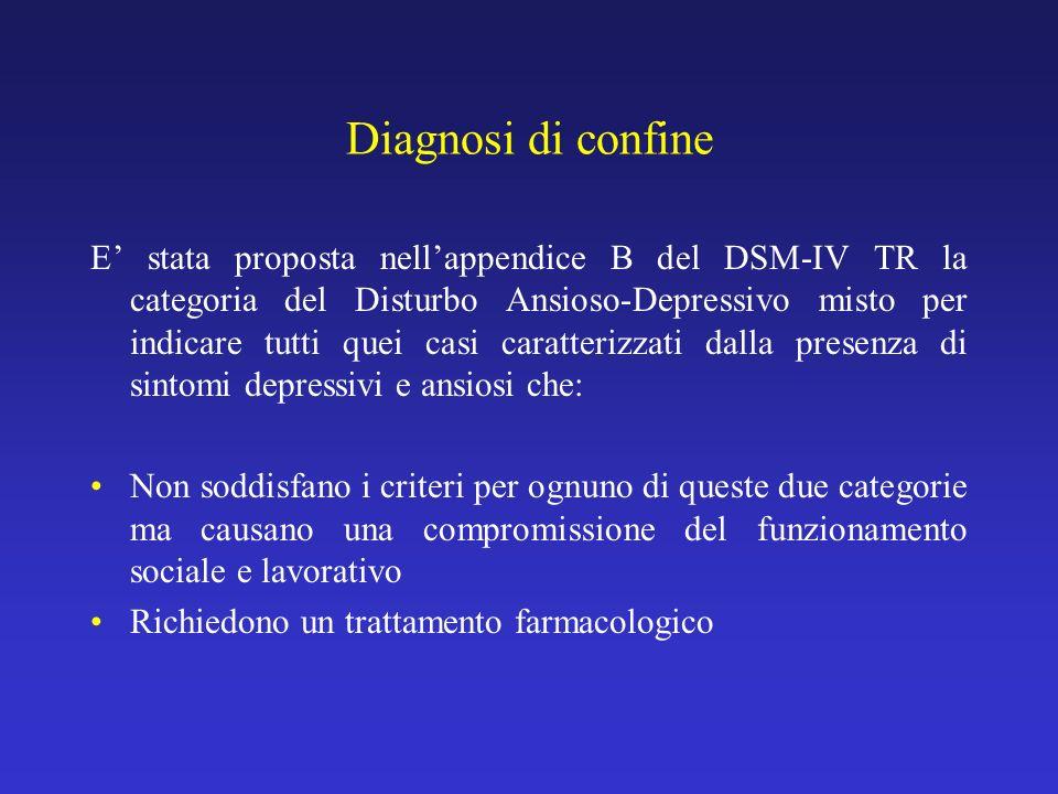 Diagnosi di confine E stata proposta nellappendice B del DSM-IV TR la categoria del Disturbo Ansioso-Depressivo misto per indicare tutti quei casi car