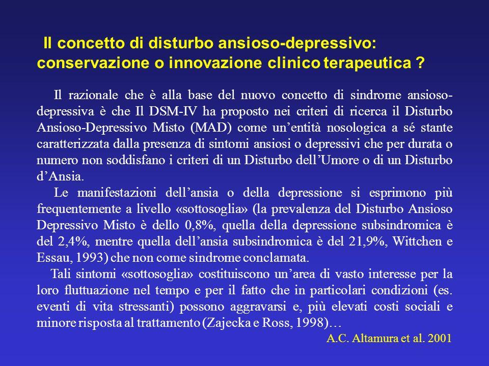 Il concetto di disturbo ansioso-depressivo: conservazione o innovazione clinico terapeutica ? Il razionale che è alla base del nuovo concetto di sindr