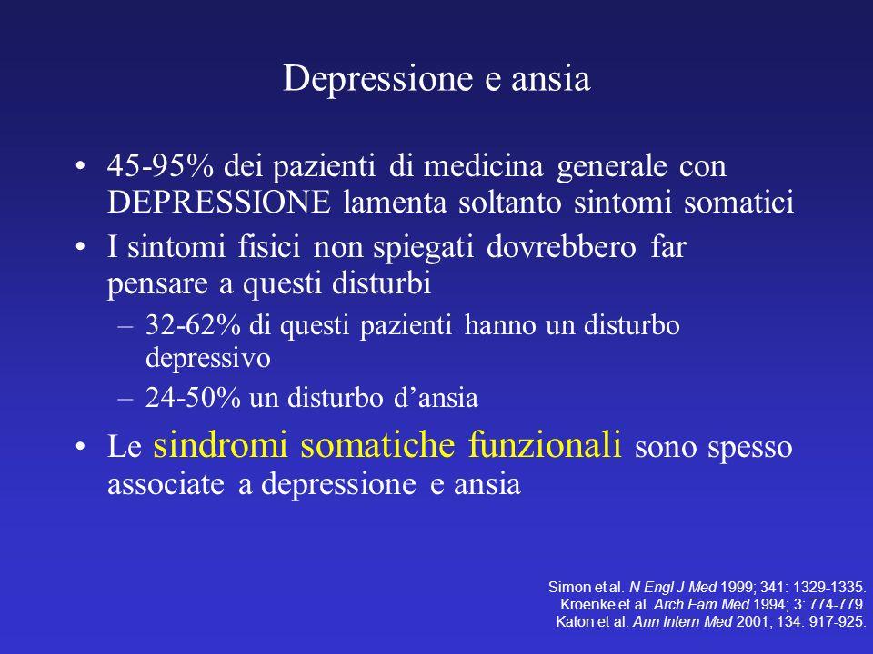 Depressione e ansia 45-95% dei pazienti di medicina generale con DEPRESSIONE lamenta soltanto sintomi somatici I sintomi fisici non spiegati dovrebber