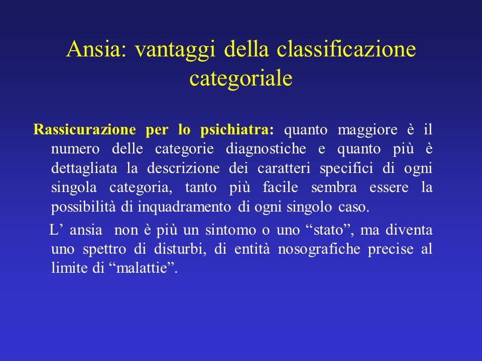 Ansia: vantaggi della classificazione categoriale Rassicurazione per lo psichiatra: quanto maggiore è il numero delle categorie diagnostiche e quanto