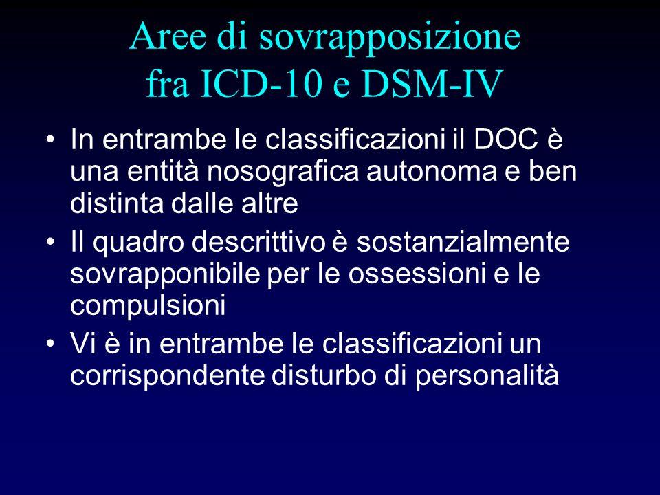 Aree di sovrapposizione fra ICD-10 e DSM-IV In entrambe le classificazioni il DOC è una entità nosografica autonoma e ben distinta dalle altre Il quad