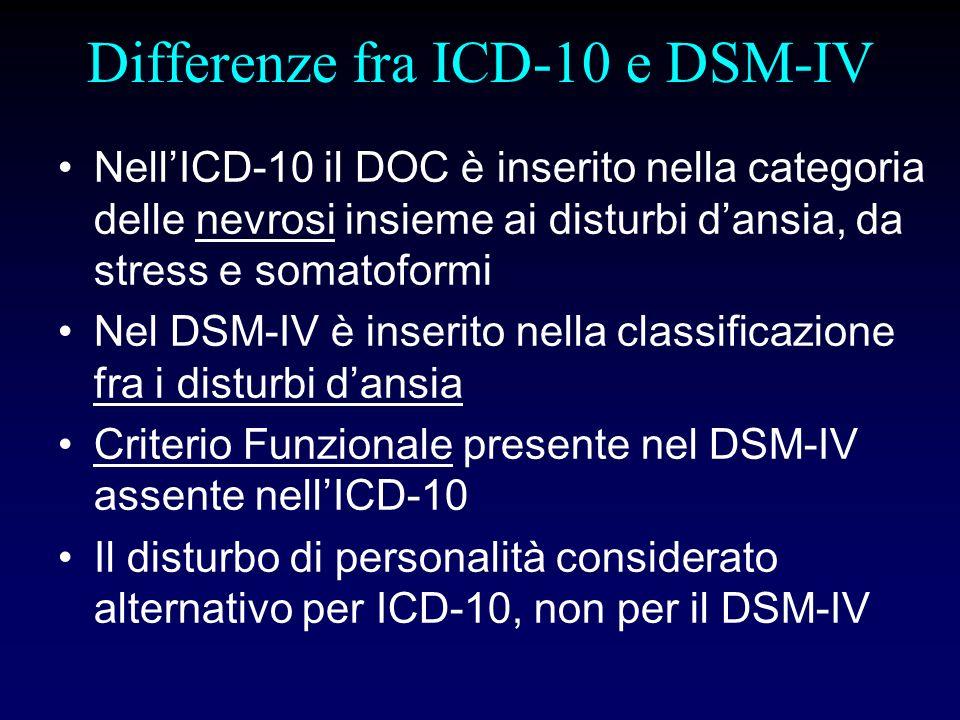 Differenze fra ICD-10 e DSM-IV NellICD-10 il DOC è inserito nella categoria delle nevrosi insieme ai disturbi dansia, da stress e somatoformi Nel DSM-