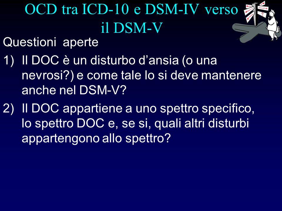 OCD tra ICD-10 e DSM-IV verso il DSM-V Questioni aperte 1)Il DOC è un disturbo dansia (o una nevrosi?) e come tale lo si deve mantenere anche nel DSM-