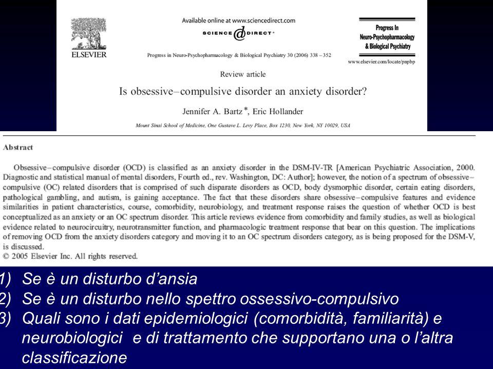 1)Se è un disturbo dansia 2)Se è un disturbo nello spettro ossessivo-compulsivo 3)Quali sono i dati epidemiologici (comorbidità, familiarità) e neurob