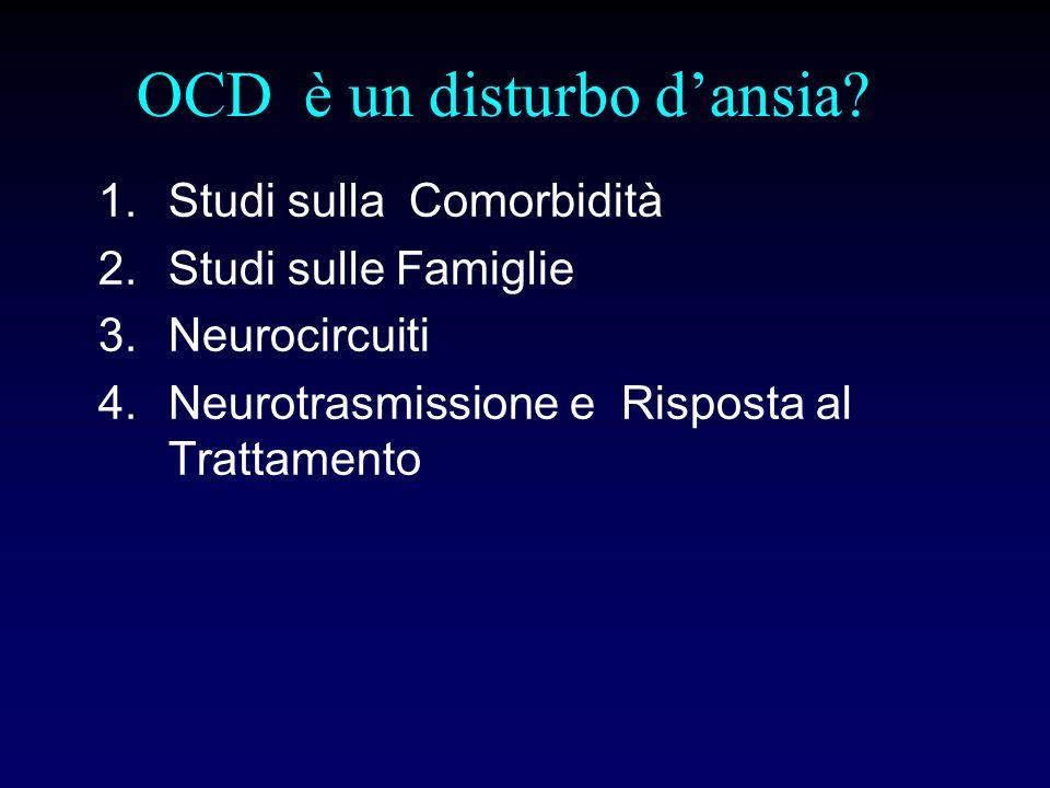 OCD è un disturbo dansia? 1.Studi sulla Comorbidità 2.Studi sulle Famiglie 3.Neurocircuiti 4.Neurotrasmissione e Risposta al Trattamento