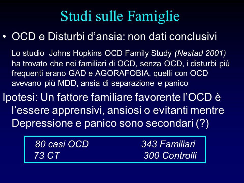 Studi sulle Famiglie OCD e Disturbi dansia: non dati conclusivi Lo studio Johns Hopkins OCD Family Study (Nestad 2001) ha trovato che nei familiari di