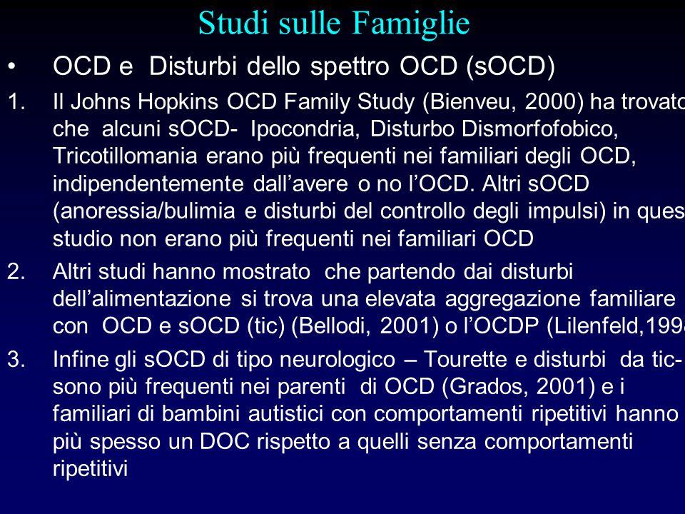 Studi sulle Famiglie OCD e Disturbi dello spettro OCD (sOCD) 1.Il Johns Hopkins OCD Family Study (Bienveu, 2000) ha trovato che alcuni sOCD- Ipocondri
