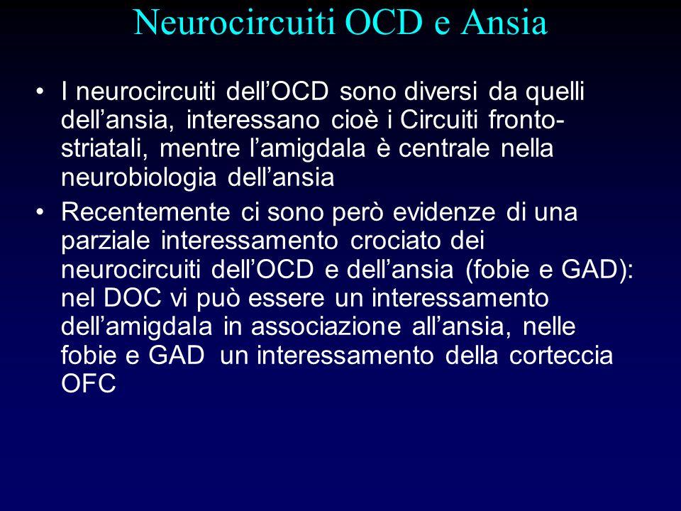 Neurocircuiti OCD e Ansia I neurocircuiti dellOCD sono diversi da quelli dellansia, interessano cioè i Circuiti fronto- striatali, mentre lamigdala è