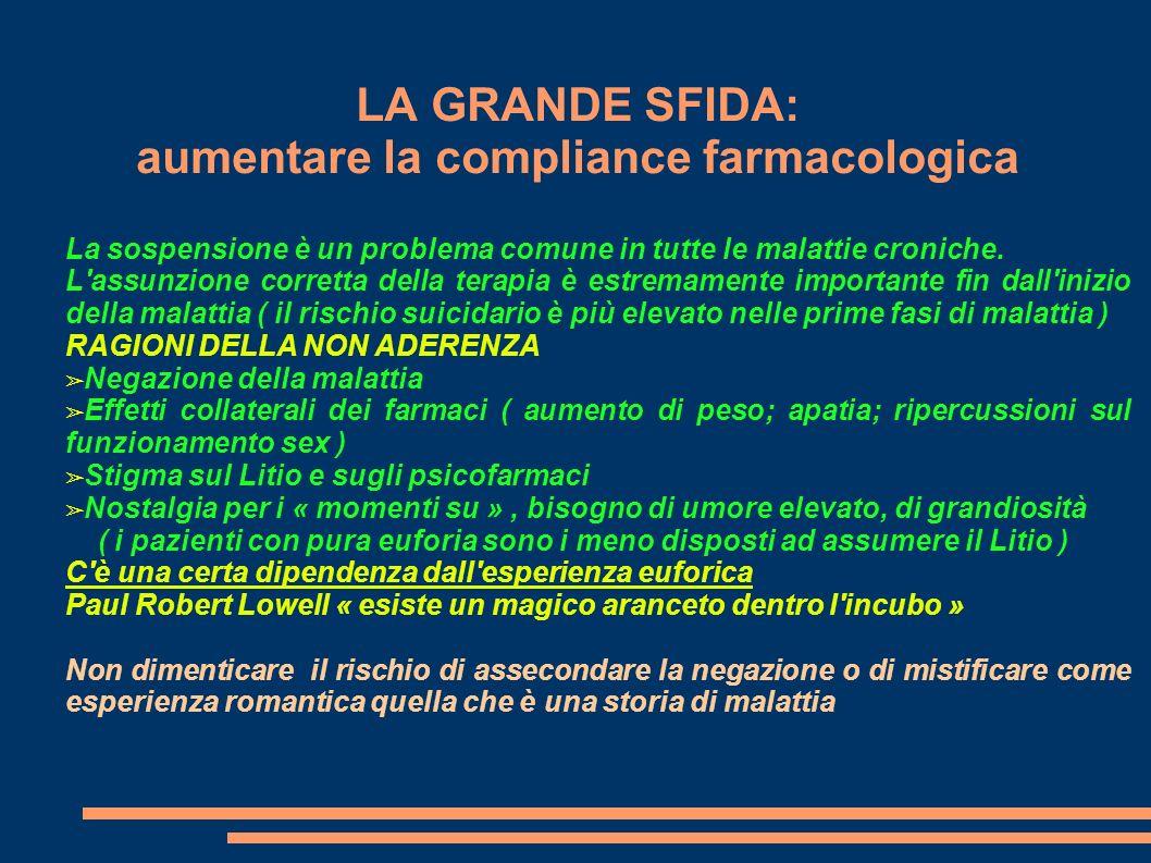 LA GRANDE SFIDA: aumentare la compliance farmacologica La sospensione è un problema comune in tutte le malattie croniche. L'assunzione corretta della