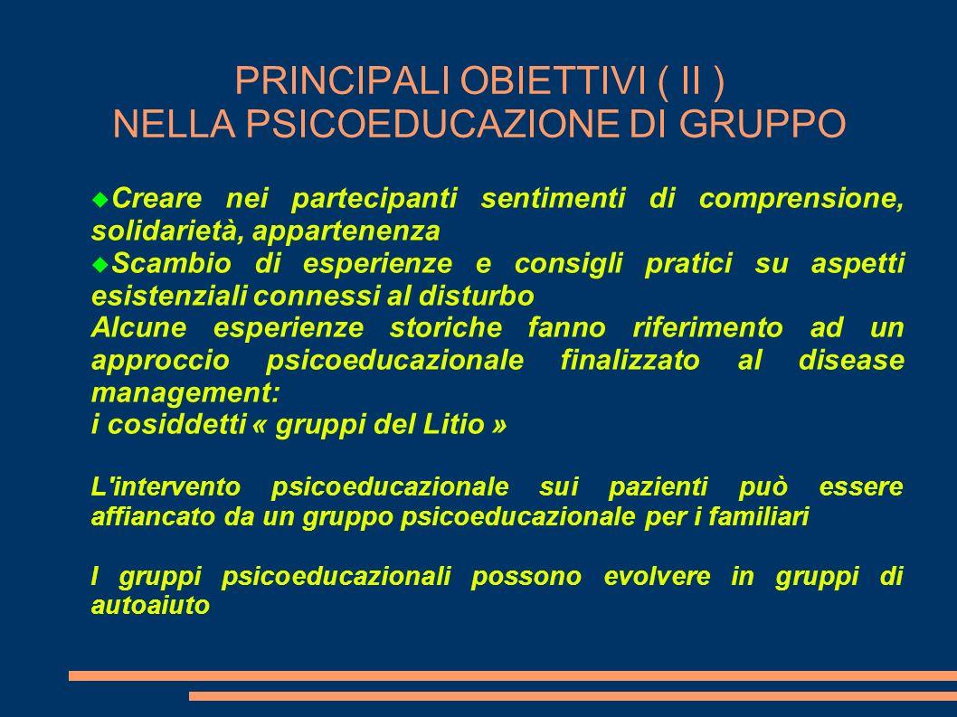 PRINCIPALI OBIETTIVI ( II ) NELLA PSICOEDUCAZIONE DI GRUPPO Creare nei partecipanti sentimenti di comprensione, solidarietà, appartenenza Scambio di e