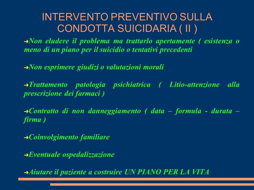INTERVENTO PREVENTIVO SULLA CONDOTTA SUICIDARIA ( II ) Non eludere il problema ma trattarlo apertamente ( esistenza o meno di un piano per il suicidio