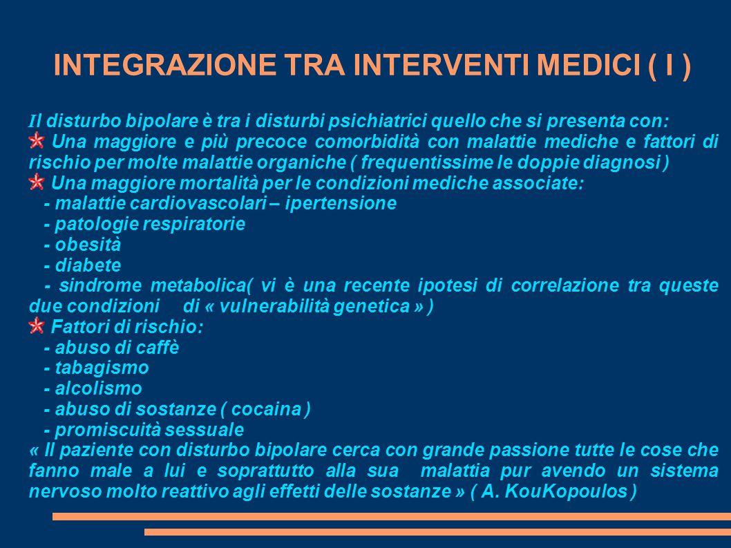 INTEGRAZIONE TRA INTERVENTI MEDICI ( I ) I l disturbo bipolare è tra i disturbi psichiatrici quello che si presenta con: Una maggiore e più precoce co