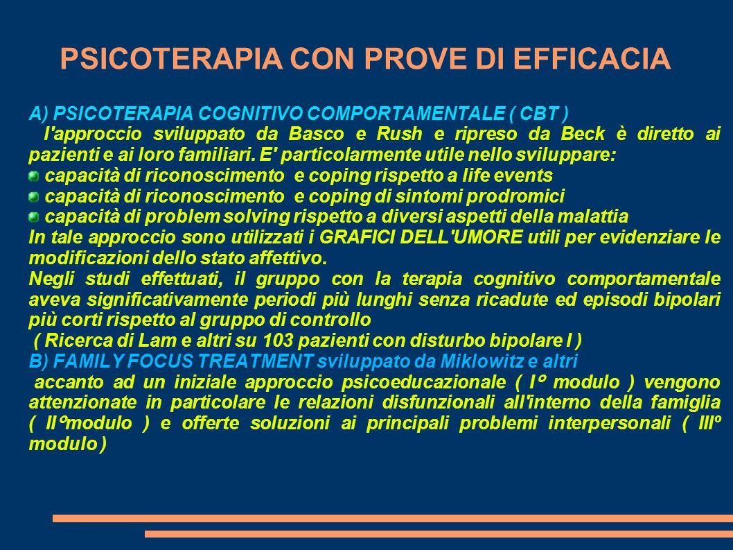 PSICOTERAPIA CON PROVE DI EFFICACIA PSICOTERAPIA INTERPERSONALE E DEI RITMI SOCIALI ( I ) ( I.P.S.R.T.) ideata dal gruppo di Ellen Frank presso l Università di Pittsburg In questo approccio la psicoterapia interpersonale di Klermann e Weissman si combina con un approccio psicoeducazionale particolarmente indirizzato alla gestione dei ritmi circadiani del paziente.