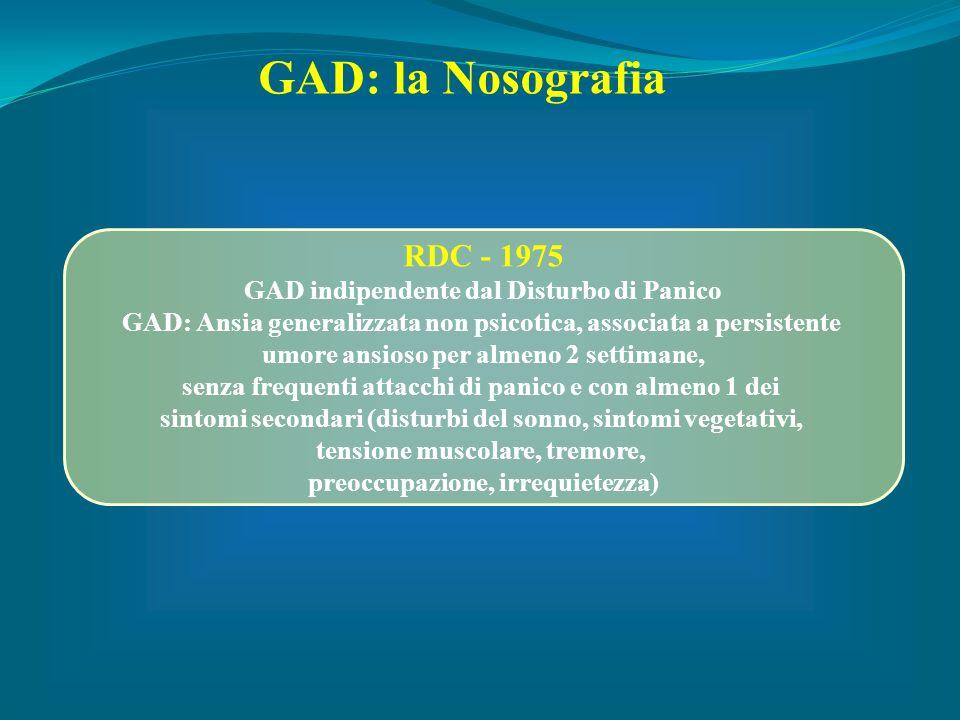 RDC - 1975 GAD indipendente dal Disturbo di Panico GAD: Ansia generalizzata non psicotica, associata a persistente umore ansioso per almeno 2 settiman
