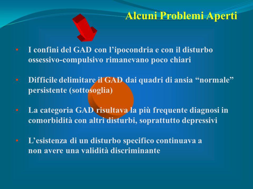 I confini del GAD con lipocondria e con il disturbo ossessivo-compulsivo rimanevano poco chiari Difficile delimitare il GAD dai quadri di ansia normal