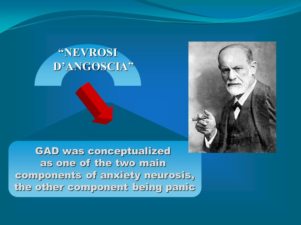Changing diagnostic criteria for GAD Anxiety Neurosis (Freud, 1894) Generalised Anxiety Disorder DSM-III (1980) DSM-III-R (1987) DSM-IV (1994) Persistent anxiety 1 month Motor tension Autonomic Apprehensive expectation Vigilance Hierarchical exclusion rules Excessive/unrealistic 6 month Motor tension Autonomic Vigilance dropped (DSM-I, DSM-II, Klein, RDC, ICD-9, DSM-III)