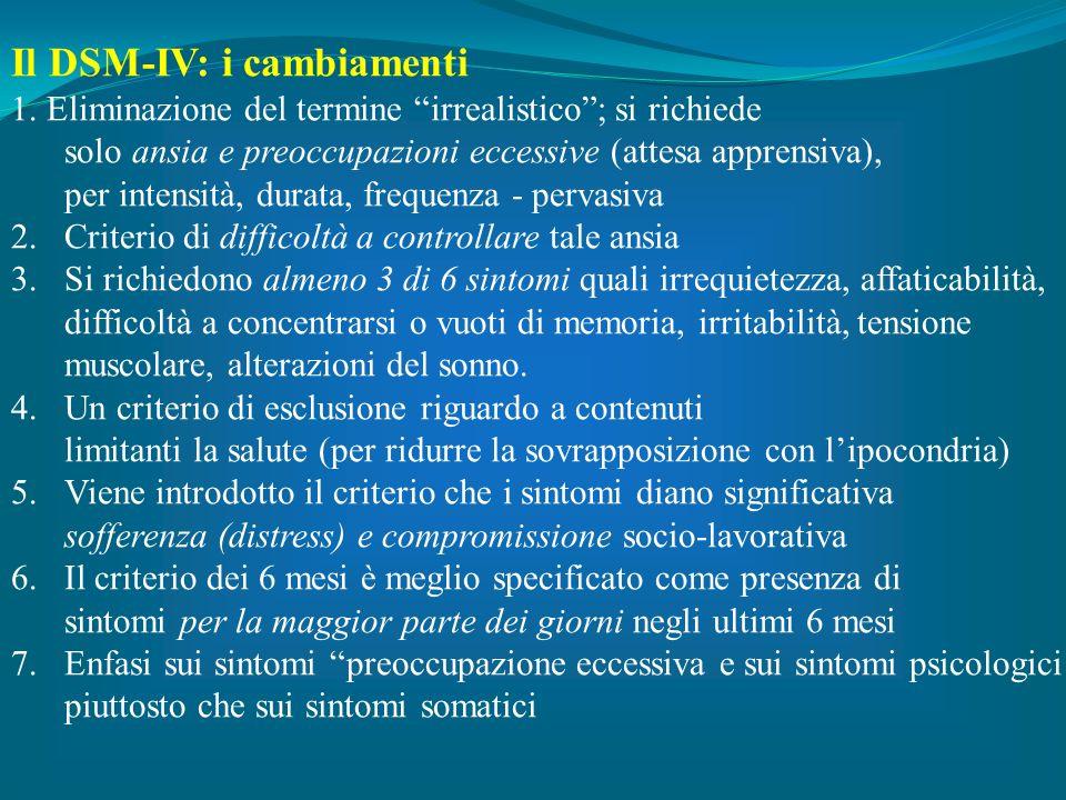 Il DSM-IV: i cambiamenti 1. Eliminazione del termine irrealistico; si richiede solo ansia e preoccupazioni eccessive (attesa apprensiva), per intensit