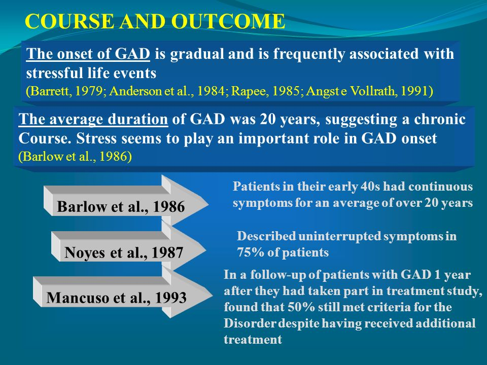COURSE AND OUTCOME The onset of GAD is gradual and is frequently associated with stressful life events (Barrett, 1979; Anderson et al., 1984; Rapee, 1