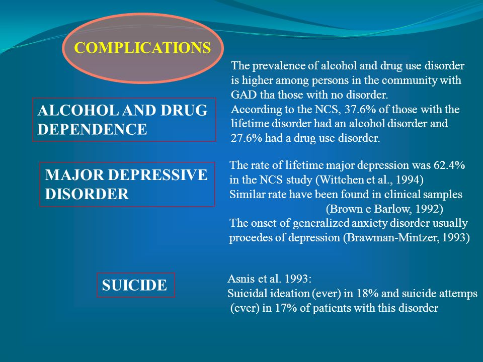ALCOHOL AND DRUG DEPENDENCE MAJOR DEPRESSIVE DISORDER SUICIDE The prevalence of alcohol and drug use disorder is higher among persons in the community