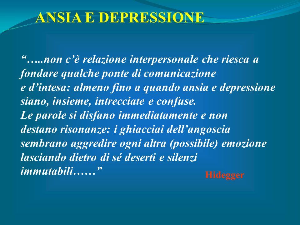…..non cè relazione interpersonale che riesca a fondare qualche ponte di comunicazione e dintesa: almeno fino a quando ansia e depressione siano, insi