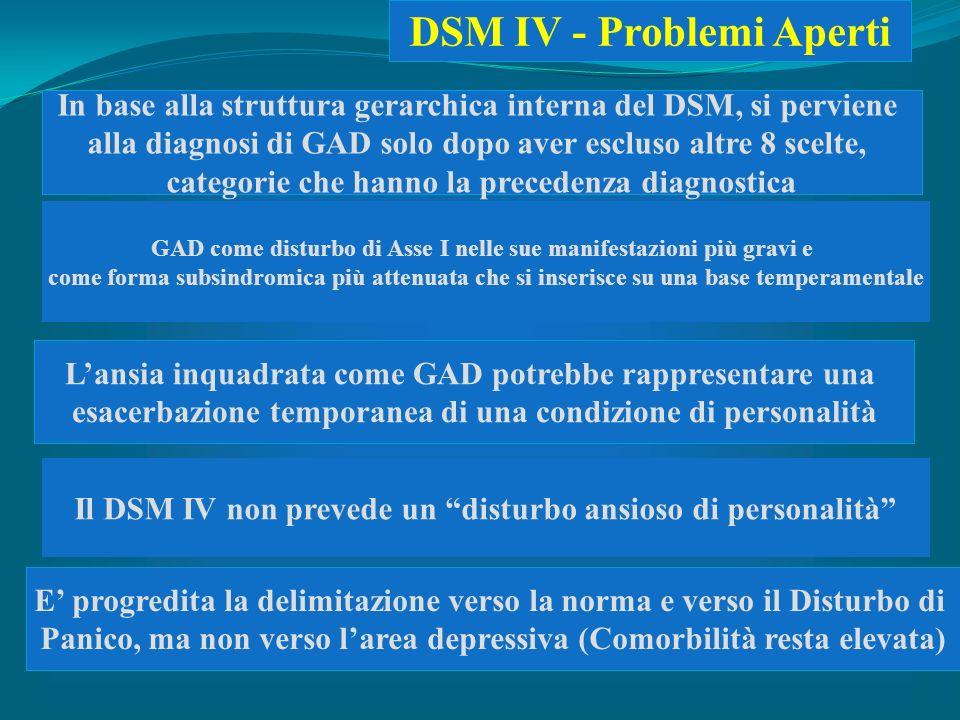Lansia inquadrata come GAD potrebbe rappresentare una esacerbazione temporanea di una condizione di personalità Il DSM IV non prevede un disturbo ansi