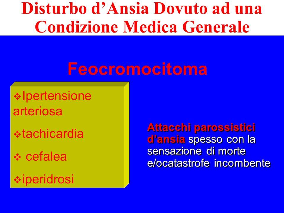 Feocromocitoma Ipertensione arteriosa tachicardia cefalea iperidrosi Attacchi parossistici dansia spesso con la sensazione di morte e/ocatastrofe inco