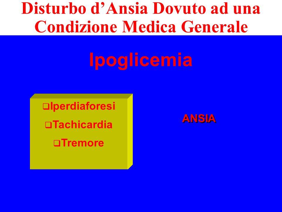 Ipoglicemia Disturbo dAnsia Dovuto ad una Condizione Medica Generale ANSIA ANSIA Iperdiaforesi Tachicardia Tremore