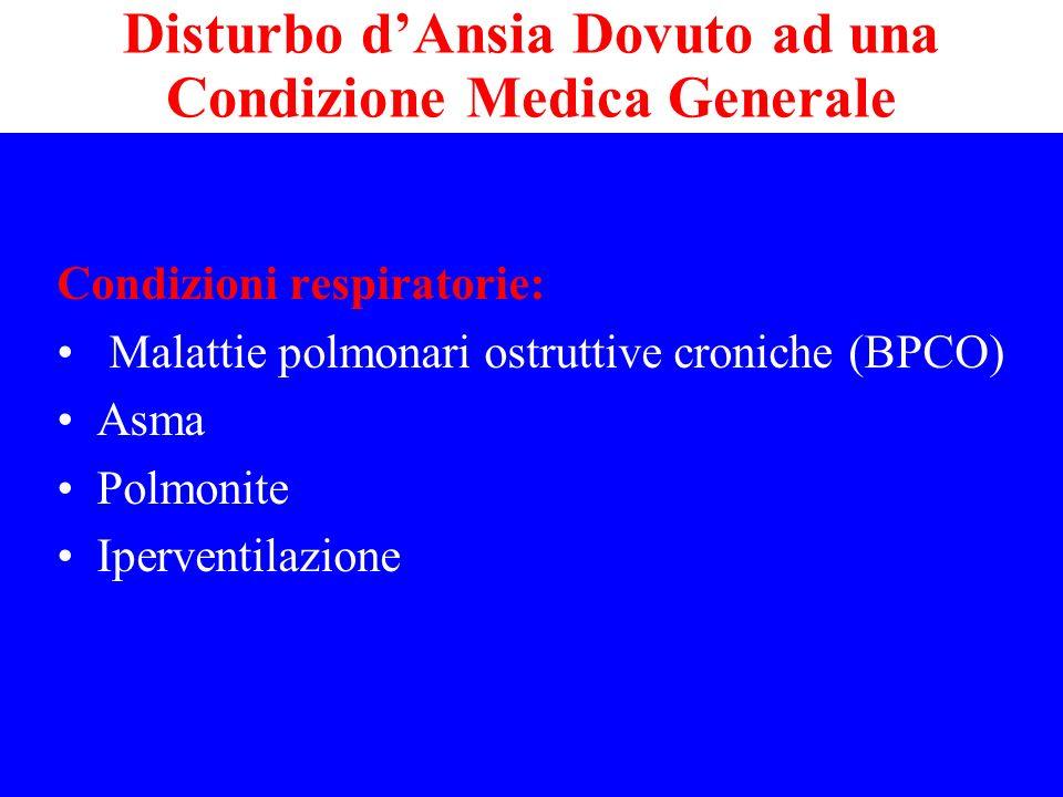 Condizioni respiratorie: Malattie polmonari ostruttive croniche (BPCO) Asma Polmonite Iperventilazione Disturbo dAnsia Dovuto ad una Condizione Medica