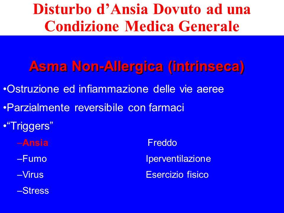 Ostruzione ed infiammazione delle vie aeree Parzialmente reversibile con farmaci Triggers –Ansia Freddo –Fumo Iperventilazione –Virus Esercizio fisico